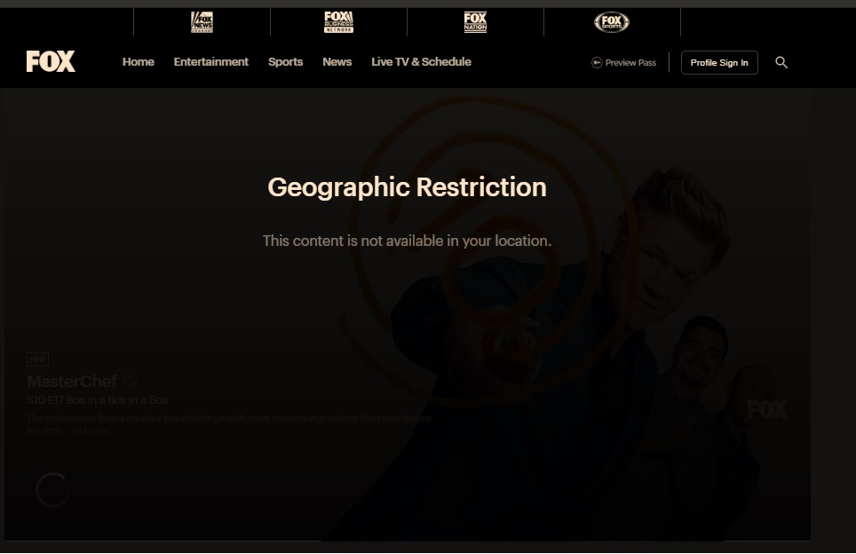 fox tv geo restriction error