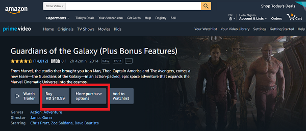 guardians of the galaxy on amazon prime