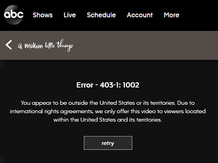 ABC outside the United States Error