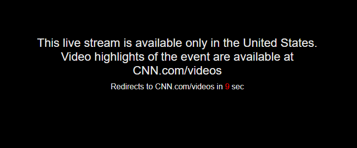CNN GO Error Live stream is available only in the United States