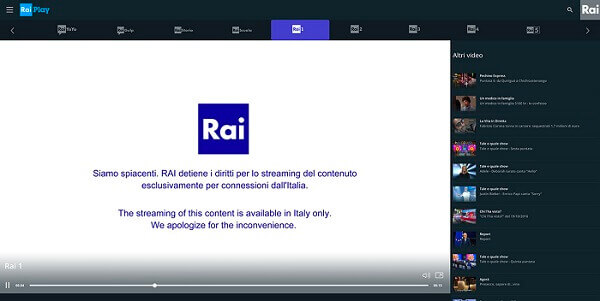 Rai TV outside Italy streaming error