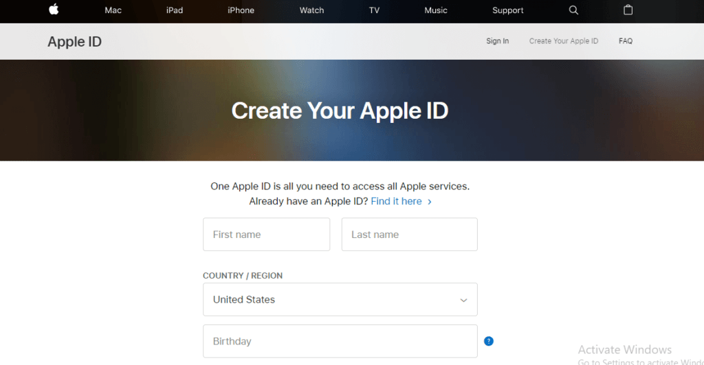 How to create new Apple id 1