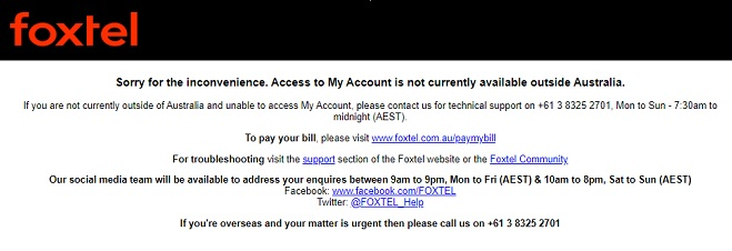 Foxtel Go Overseas Not Available Error