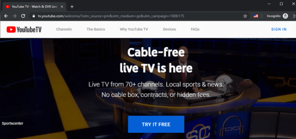 TRY FREE button to unblock YouTube TV Outside US