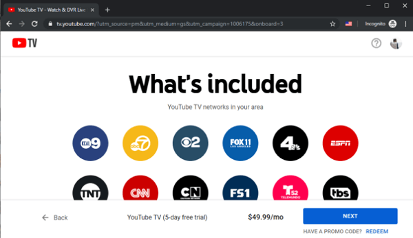 YouTube TV Showing Channels Available in the Area