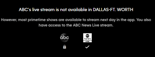 ABC Live Stream error