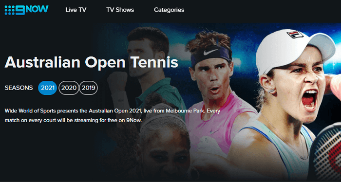 Australian open 2021 on 9 Now