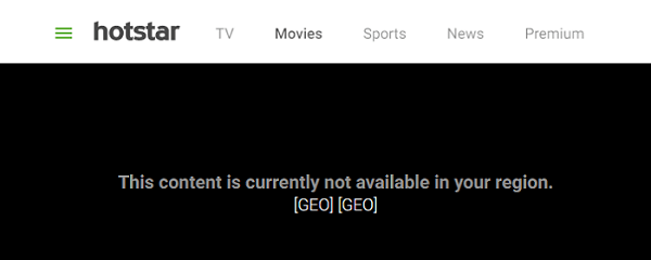 hotstar content not avaiable geo error