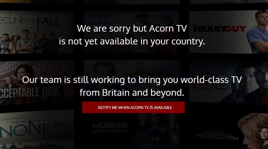 Acorn TV Geo-restriction error