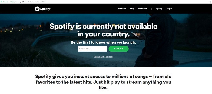 Spotify not available in your country