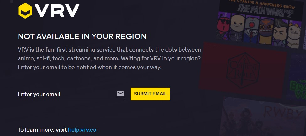VRV geo-restiction error