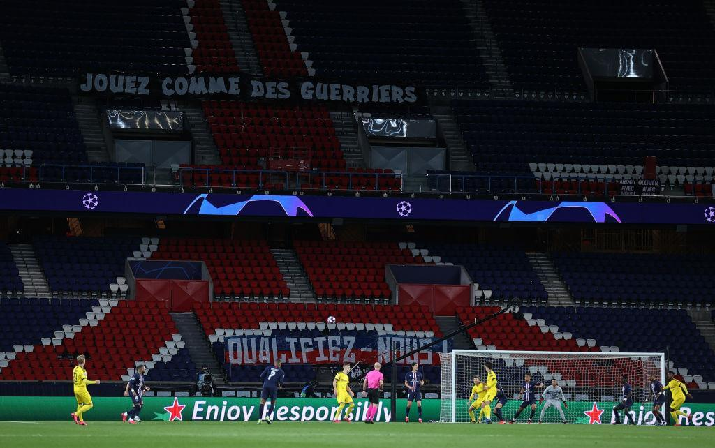 Image of PSG vs Borussia Dortmund match happening behind the closed door after the corona breakdown