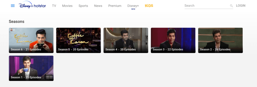 All six seasons of Koffee with Karan available on Disney+ hotstar