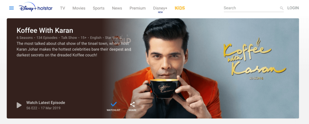 Koffee with Karan on Indian Hotstar