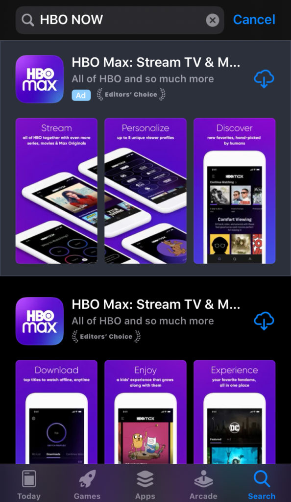 App Store showing HBO MAX when you search for HBO NOW app