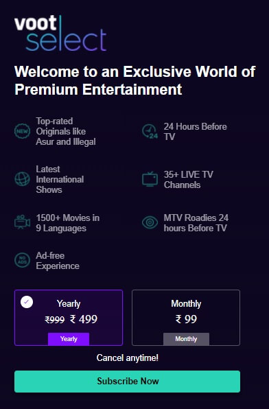 voot select subscription