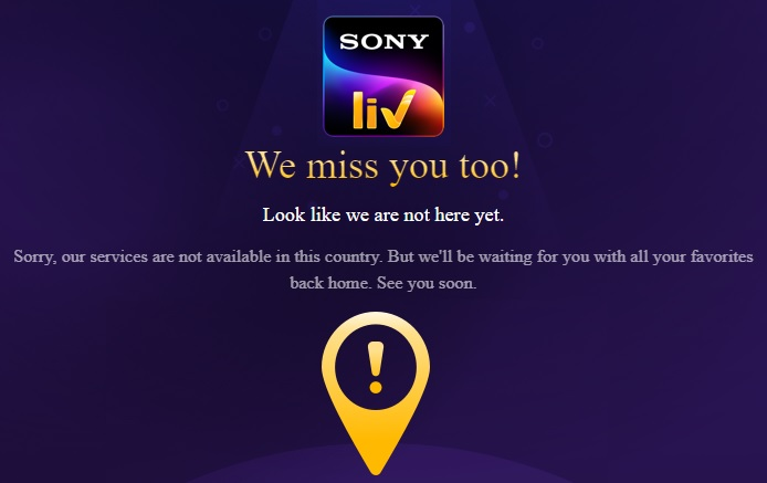SonyLIV Geo-Location Error while trying to access in USA without VPN