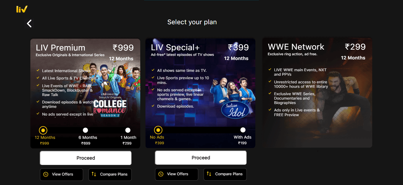 sony liv india pricing