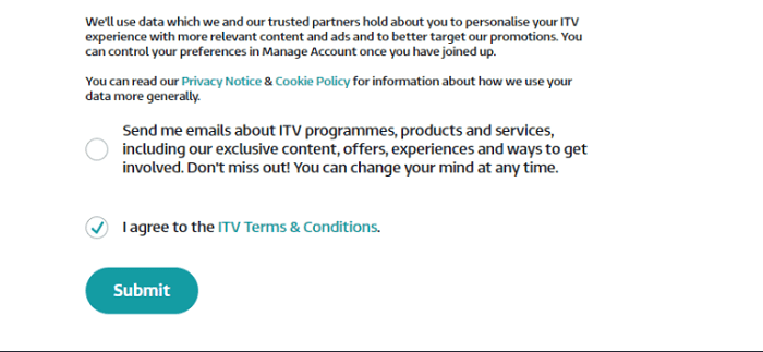 ITV Reg Terms & conditions outside uk