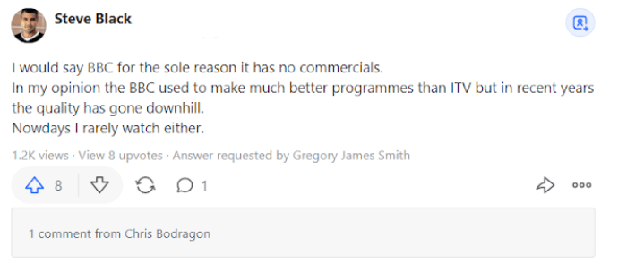 comment about ITV hub on quora
